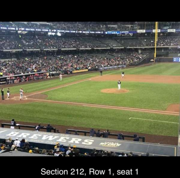 American Family Field, section: 212, row: 1, seat: 1