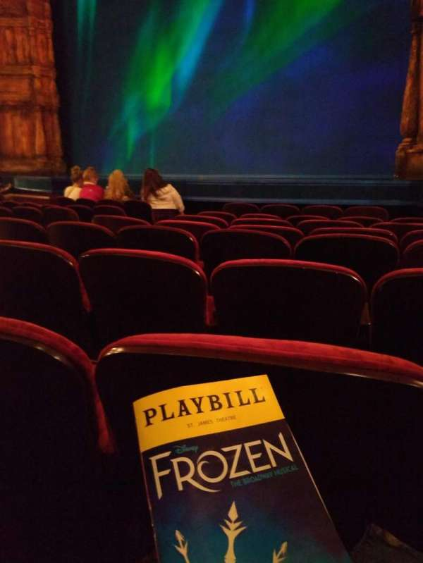 St. James Theatre, section: Orchestra R, row: G, seat: 14