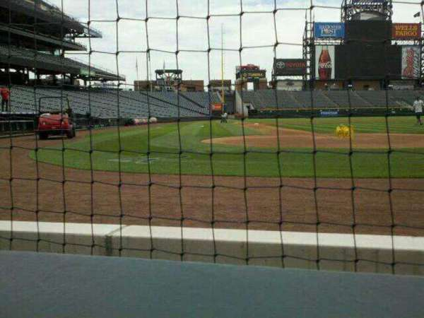 Coors Field, section: 127, row: A1, seat: 9
