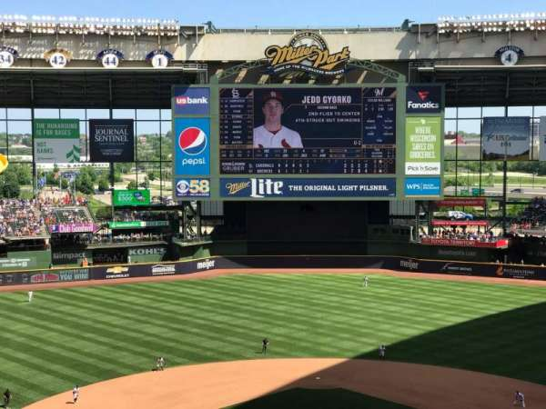Miller Park, section: 422, row: 2, seat: 7