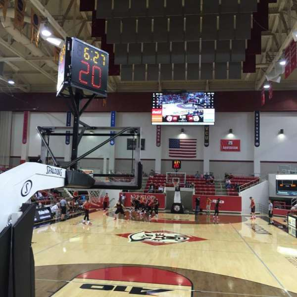 John M. Belk Arena, section: 1, row: B, seat: 1