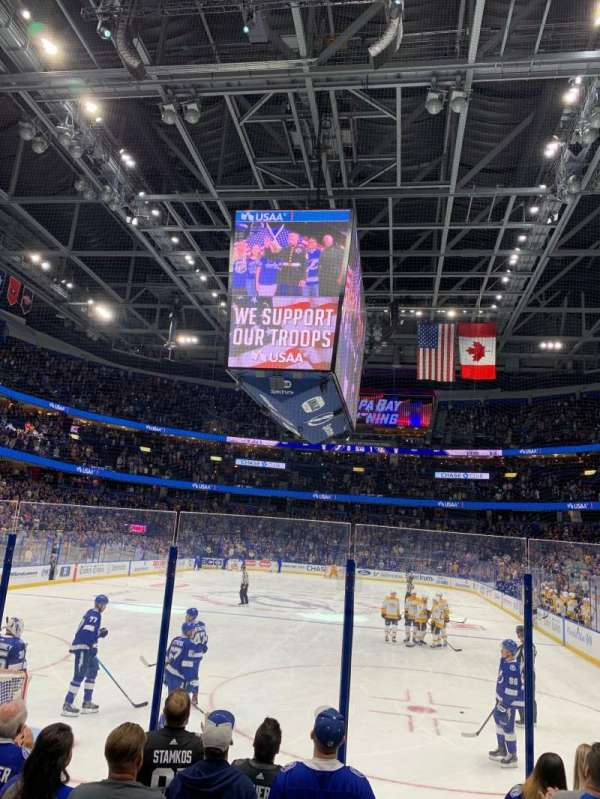 Amalie Arena, section: 108, row: G, seat: 1