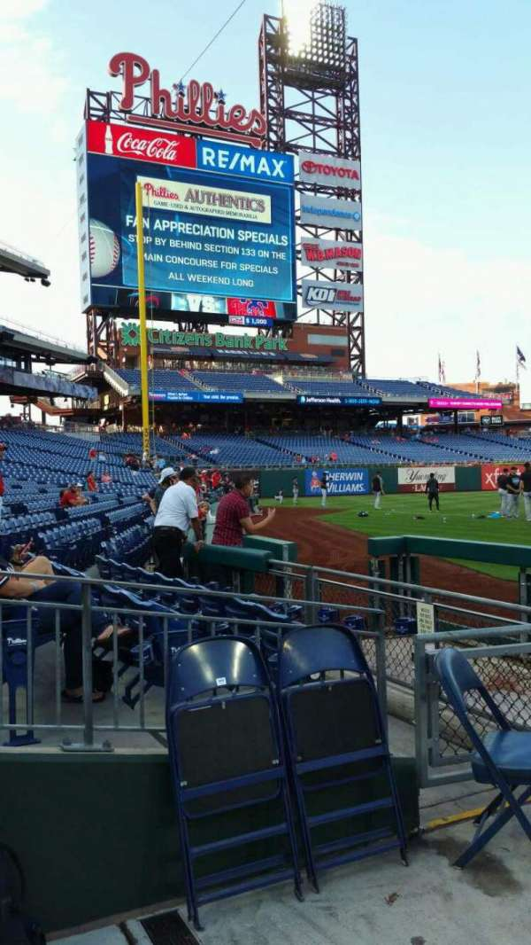 Citizens Bank Park, section: 132, row: 1, seat: 12