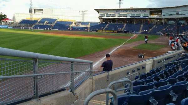 Richmond County Bank Ballpark, section: 1, row: F, seat: 19