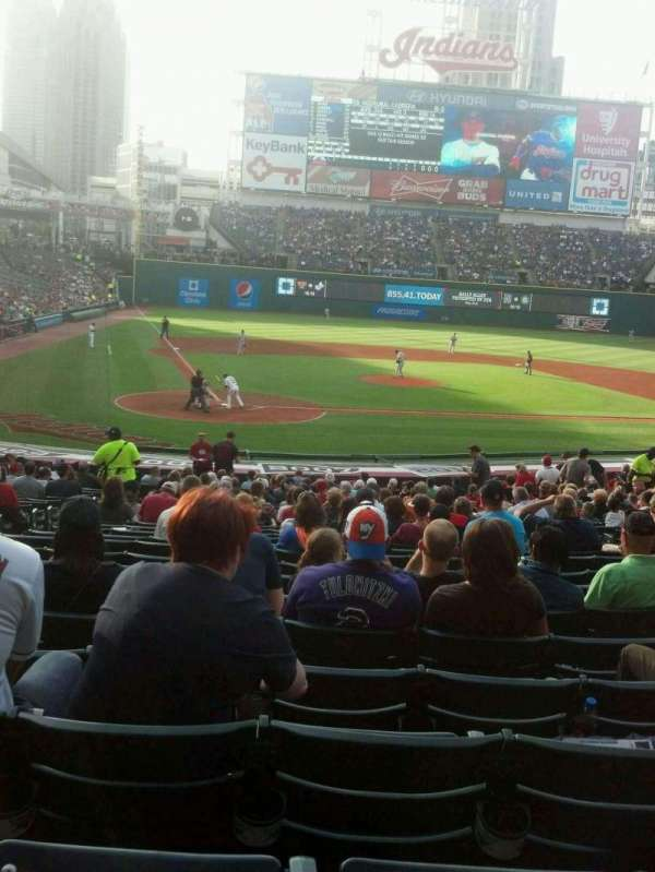 Progressive Field, section: 150, row: GG, seat: 11-15