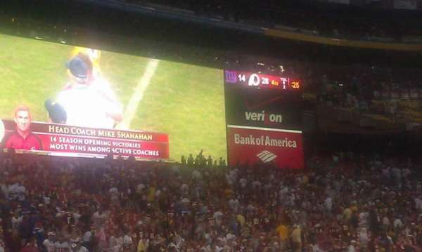 FedEx Field, section: 4, row: 2, seat: 9