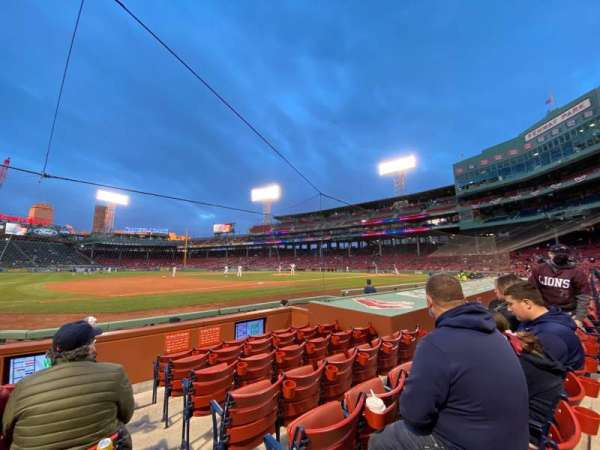 Fenway Park, section: Field Box 70, row: F, seat: 1
