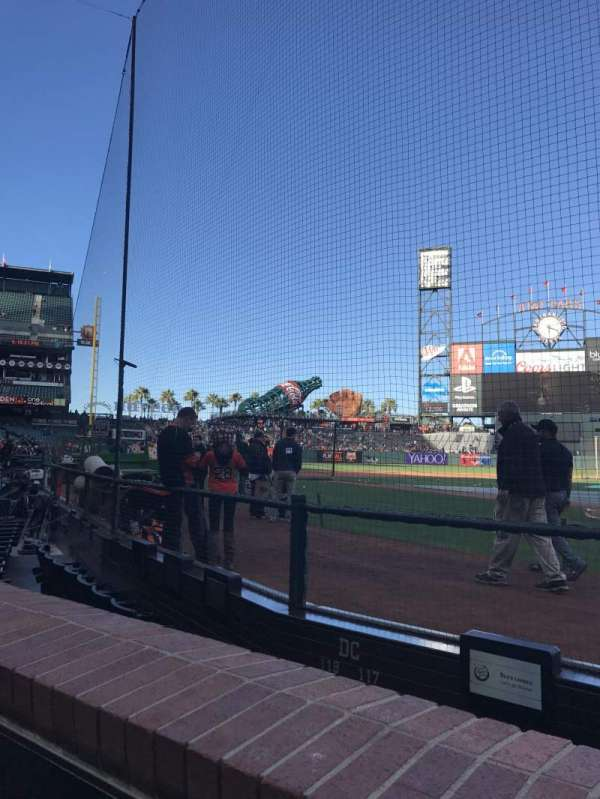 Oracle Park, section: 117, row: Aa , seat: 1