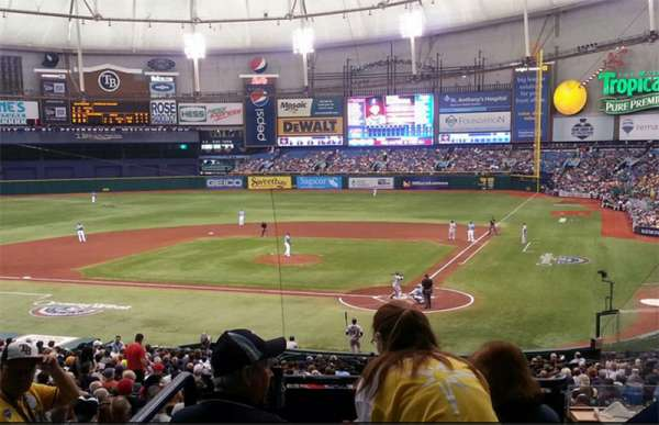 Tropicana Field, section: 107 Home Club, row: 106, seat: RR