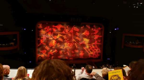 Minskoff Theatre, section: Mezzanine, row: D, seat: 111