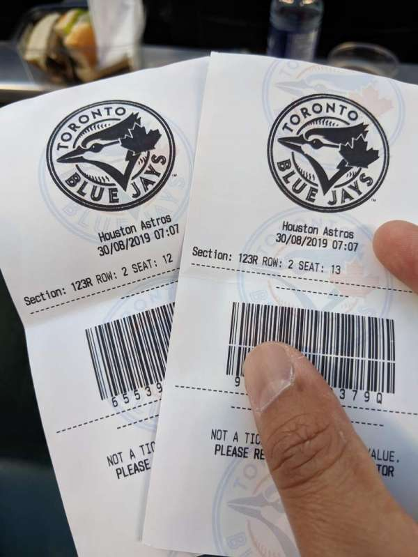 Rogers Centre, section: 123R, row: 2, seat: 13