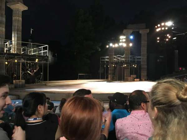 The Delacorte Theater in Central Park, section: D, row: F, seat: 309