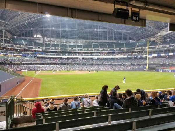 Miller Park, section: 104, row: 10, seat: 2