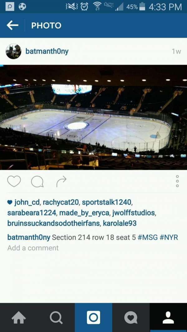 Madison Square Garden, section: 214, row: 18, seat: 5