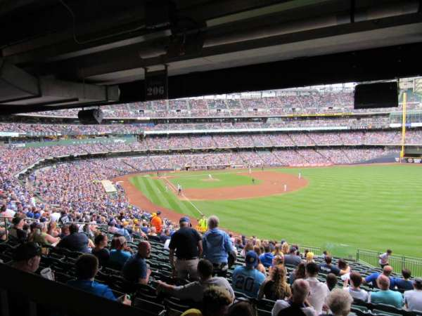 Miller Park, section: 206, row: 19, seat: 11