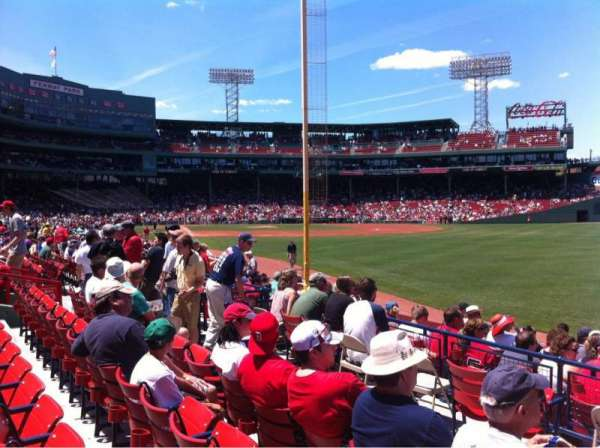 Fenway Park, section: Right Field box 93, row: Gg, seat: 1