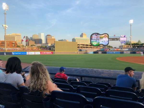 First Tennessee Park, section: 107, row: F, seat: 9
