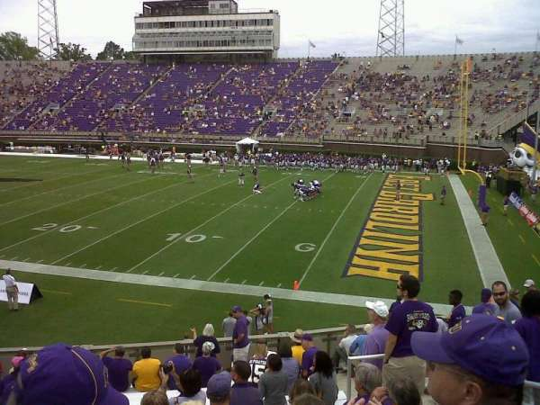 Dowdy-Ficklen Stadium, section: 14, row: M, seat: 12