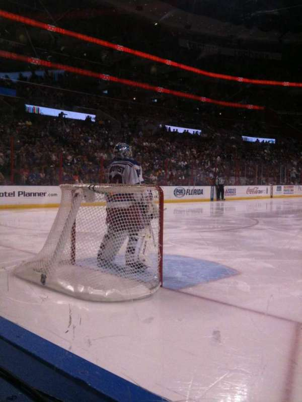 BB&T Center, section: 100, row: 1, seat: 7