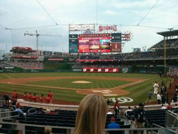Nationals Park, section: DC121, row: B, seat: 5