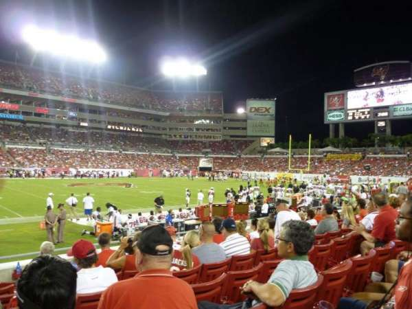 Raymond James stadium, section: 109, row: H, seat: 1