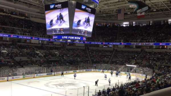 SAP Center, section: 104, row: 21, seat: 1
