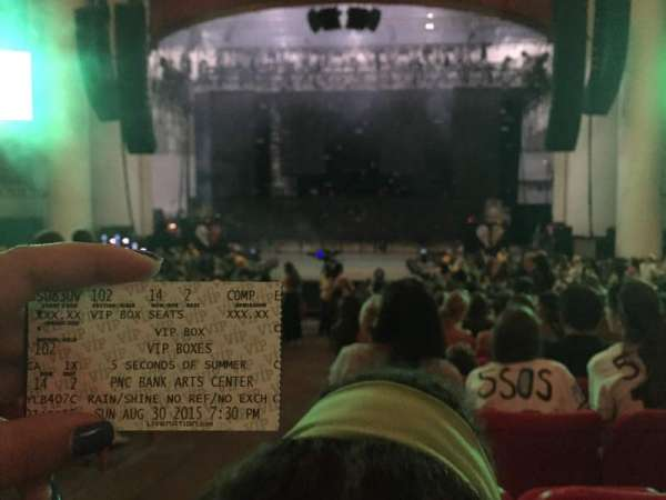 PNC Bank Arts Center, section: 102, row: 14, seat: 1