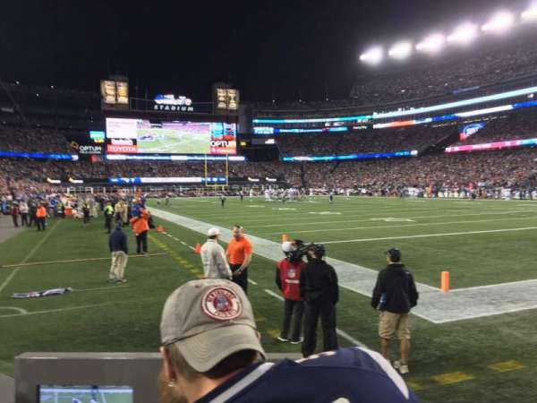 Gillette Stadium, section: 102, row: 2, seat: 1