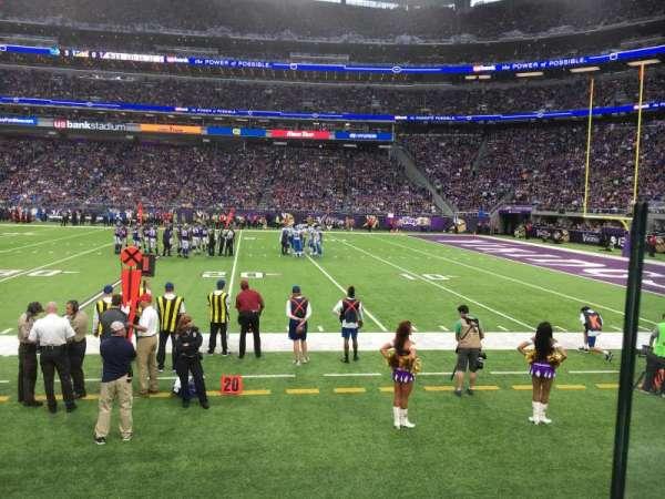 U.S. Bank Stadium, section: F1, row: 1, seat: 1