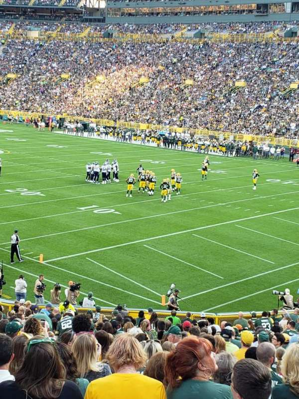 Lambeau field , section: 107, row: 34, seat: 24