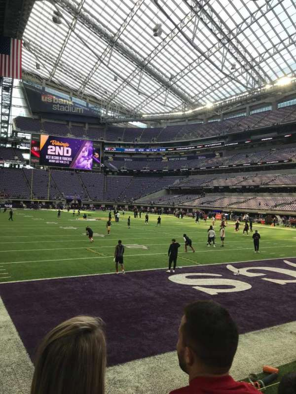 U.S. Bank Stadium, section: 101, row: 2, seat: 8