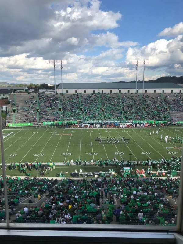 Joan C. Edwards Stadium, section: 405, row: 1, seat: 4