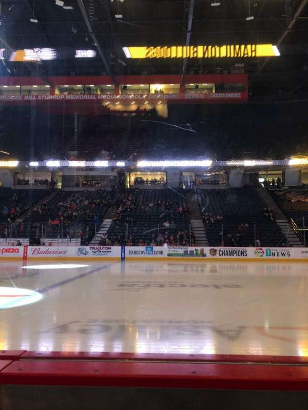 FirstOntario Centre, section: 107, row: 1, seat: 5