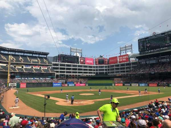 Globe Life Park in Arlington, section: Infield 27, row: 16, seat: 8