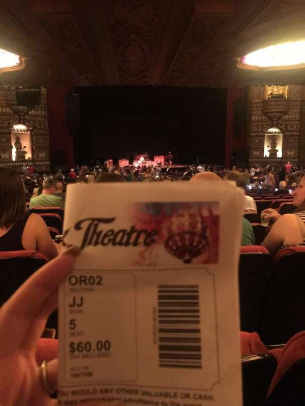 The Fabulous Fox Theatre (St. Louis), section: OR02, row: JJ, seat: 5