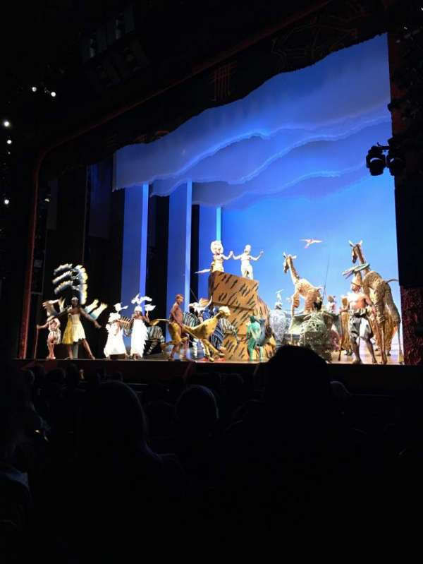 Minskoff Theatre, section: ORCHESTRA R, row: J, seat: 8/10