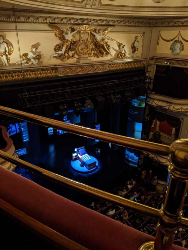 Noël Coward Theatre, section: Balcony, row: A, seat: 26