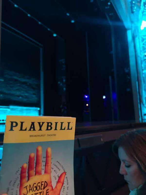 broadhurst theatre , section: orchestra l, row: B, seat: 9