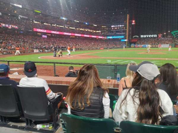 Oracle Park, section: 109, row: CC, seat: 16