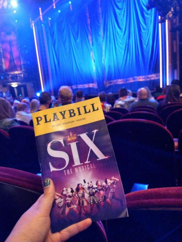Brooks Atkinson Theatre, section: Orchestra R, row: H, seat: 22