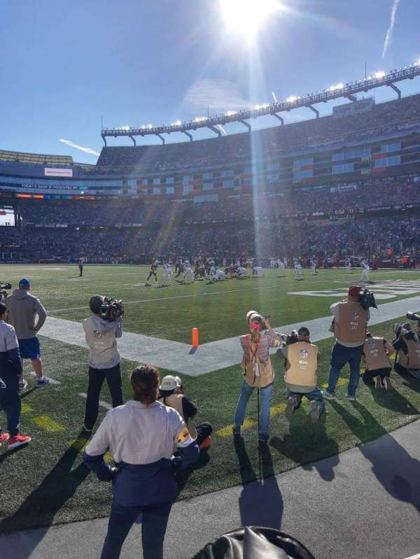 Gillette Stadium, section: 102, row: 1, seat: 2