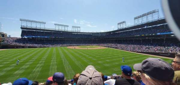 Wrigley Field, section: Bleachers, row: Left field, seat: Middle