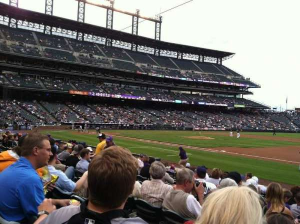 Coors Field, section: 120, row: 12, seat: 1