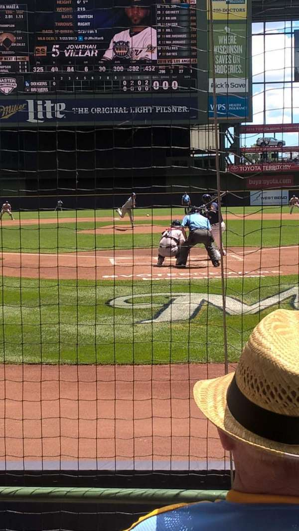 Miller Park, section: 118, row: 3, seat: 1