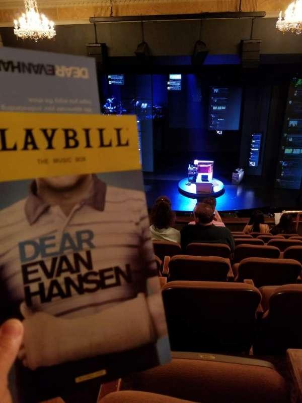 Music Box Theatre, section: Mezzanine C, row: H, seat: 104