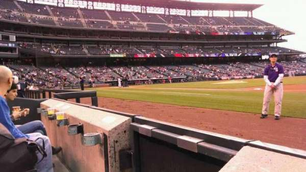 Coors Field, section: 120, row: 1, seat: 13