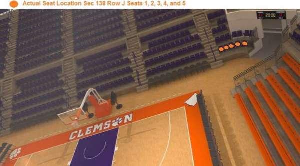 Littlejohn Coliseum, section: 138, row: J, seat: 1,2,3,4,5