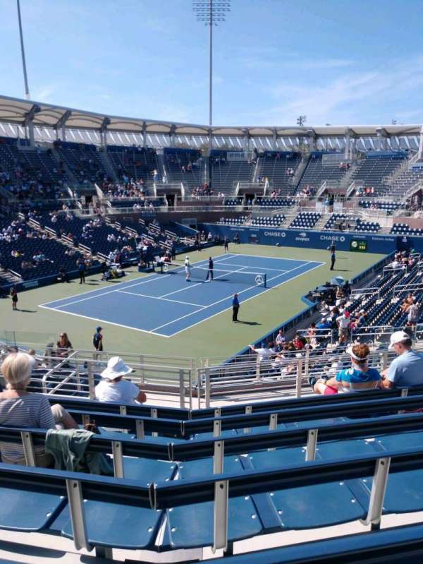 Billie Jean King National Tennis Center, Grandstand, section: V, row: G, seat: 1