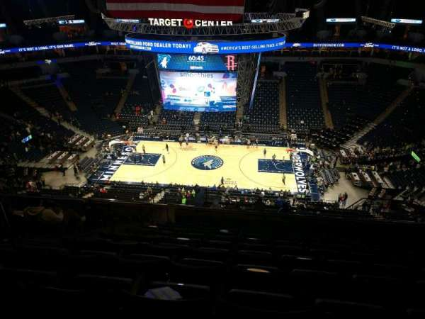 Target Center, section: 210, row: T, seat: 10