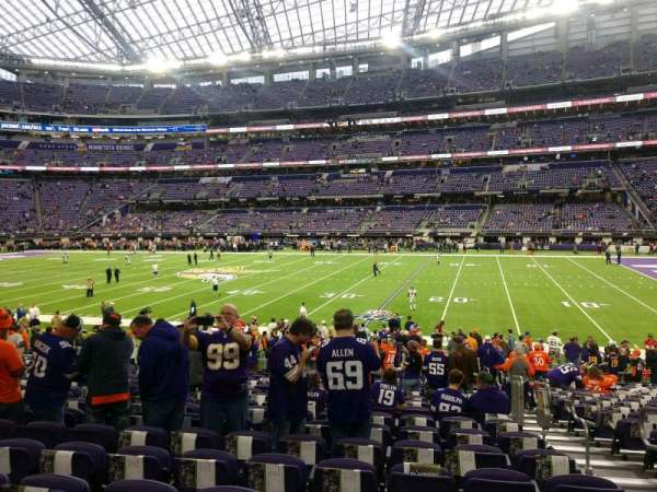 U.S. Bank Stadium, section: 107, row: 18, seat: 3